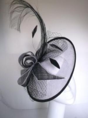 Black and white fascinator