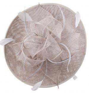 Sinamay Pettle Fascinator - Pearl Grey
