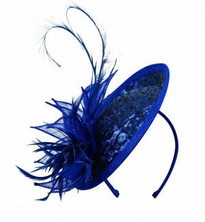 Sinamay & Sequin Flower Fascinator - Sapphire