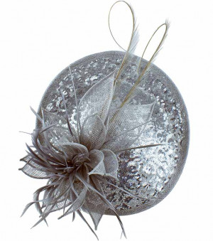 Sinamay & Sequin Flower Fascinator - Silver