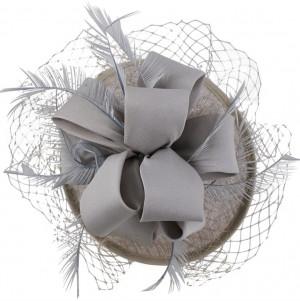 Sinamay Loop Fascinator - Pearl Grey