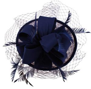 Sinamay Loop Fascinator - Navy Blue