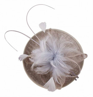 Sinamay Quill Fascinator - Pearl Grey