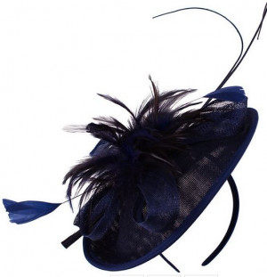 Sinamay Quill Fascinator - Navy Blue