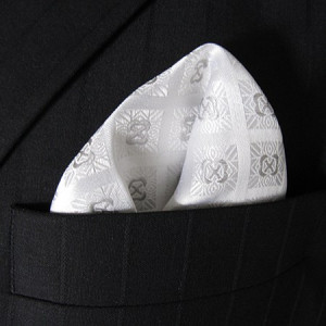 White Check Pocket Square
