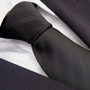 Black Self Stripe Polyester Tie
