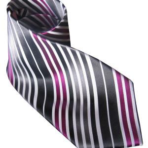 Silver & Pink Silk Tie