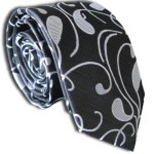 Black Paisley Skinny Polyester Tie