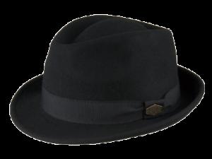 Snap Wool Felt Black Feodora Hat