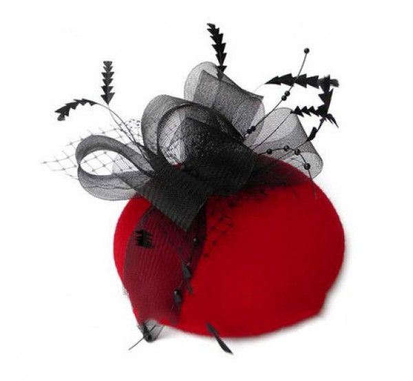 Red and Black Pill Box Fascinator