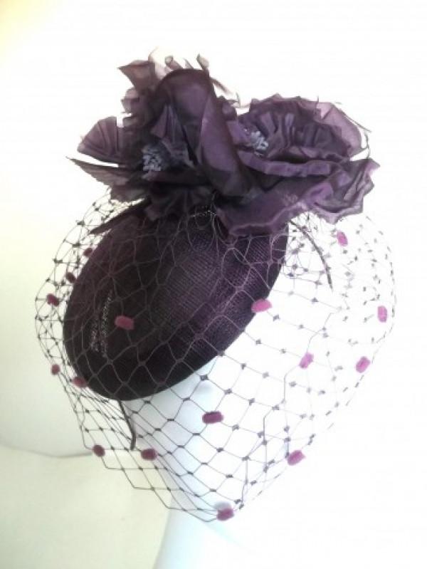 Grape Veiled Fascinator