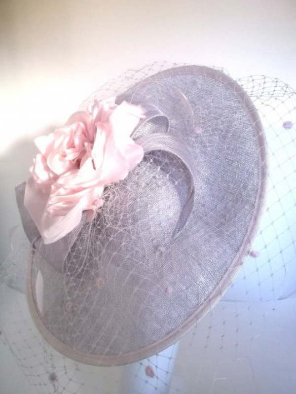 Silver/Rose Fascinator